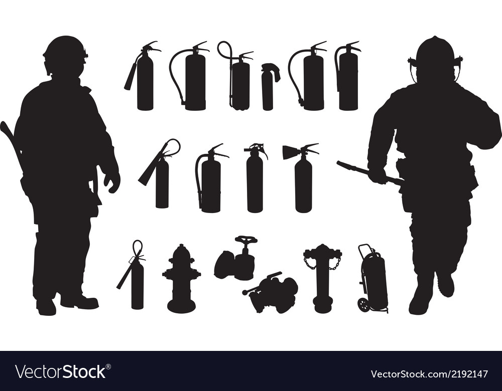 Fire extinguisher silhouette vector | Price: 1 Credit (USD $1)