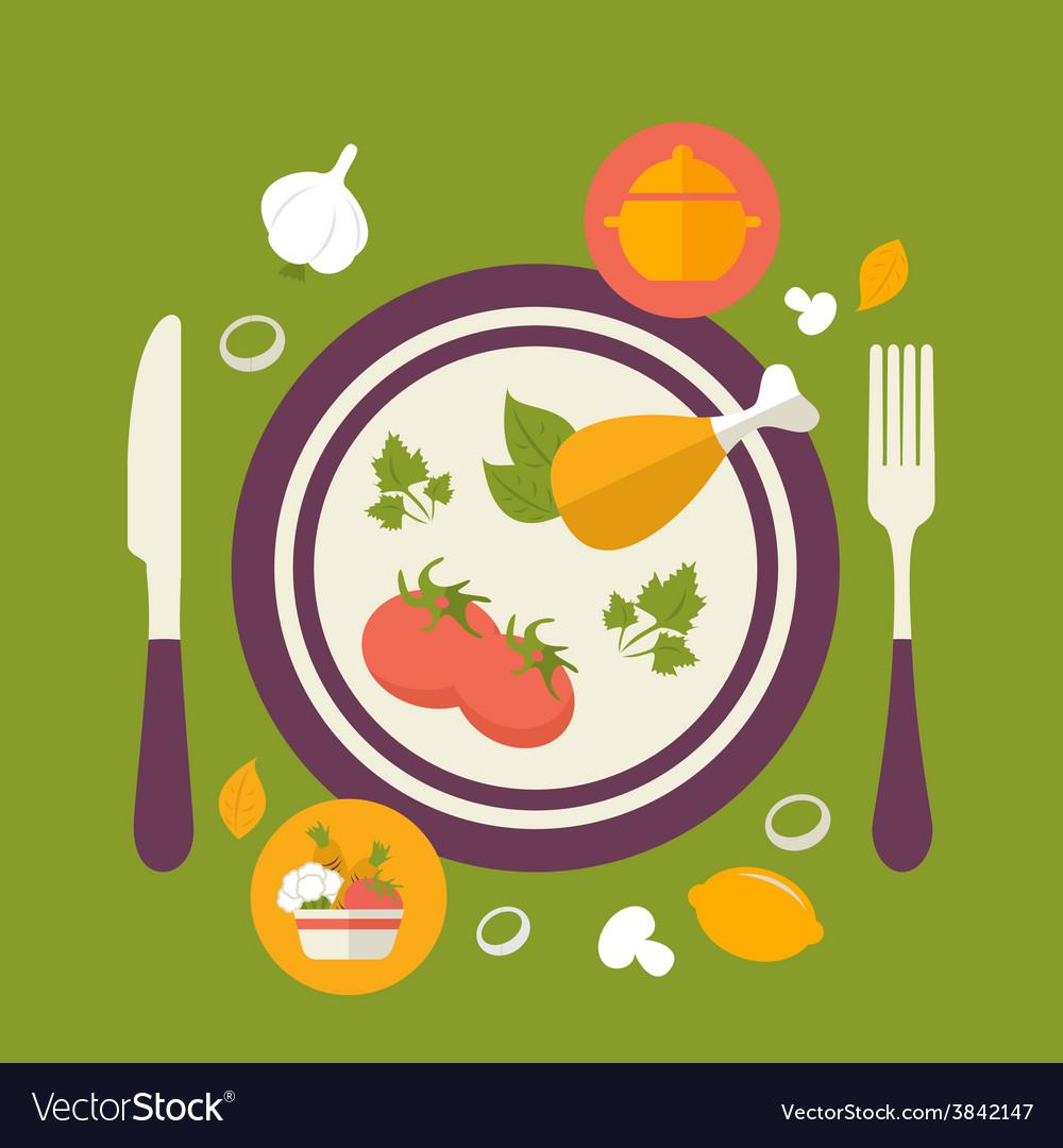 Healthy food concept vintage style vector   Price: 1 Credit (USD $1)