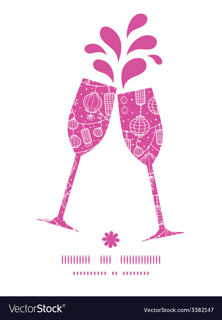 Holiday lanterns line art toasting wine glasses vector | Price: 1 Credit (USD $1)