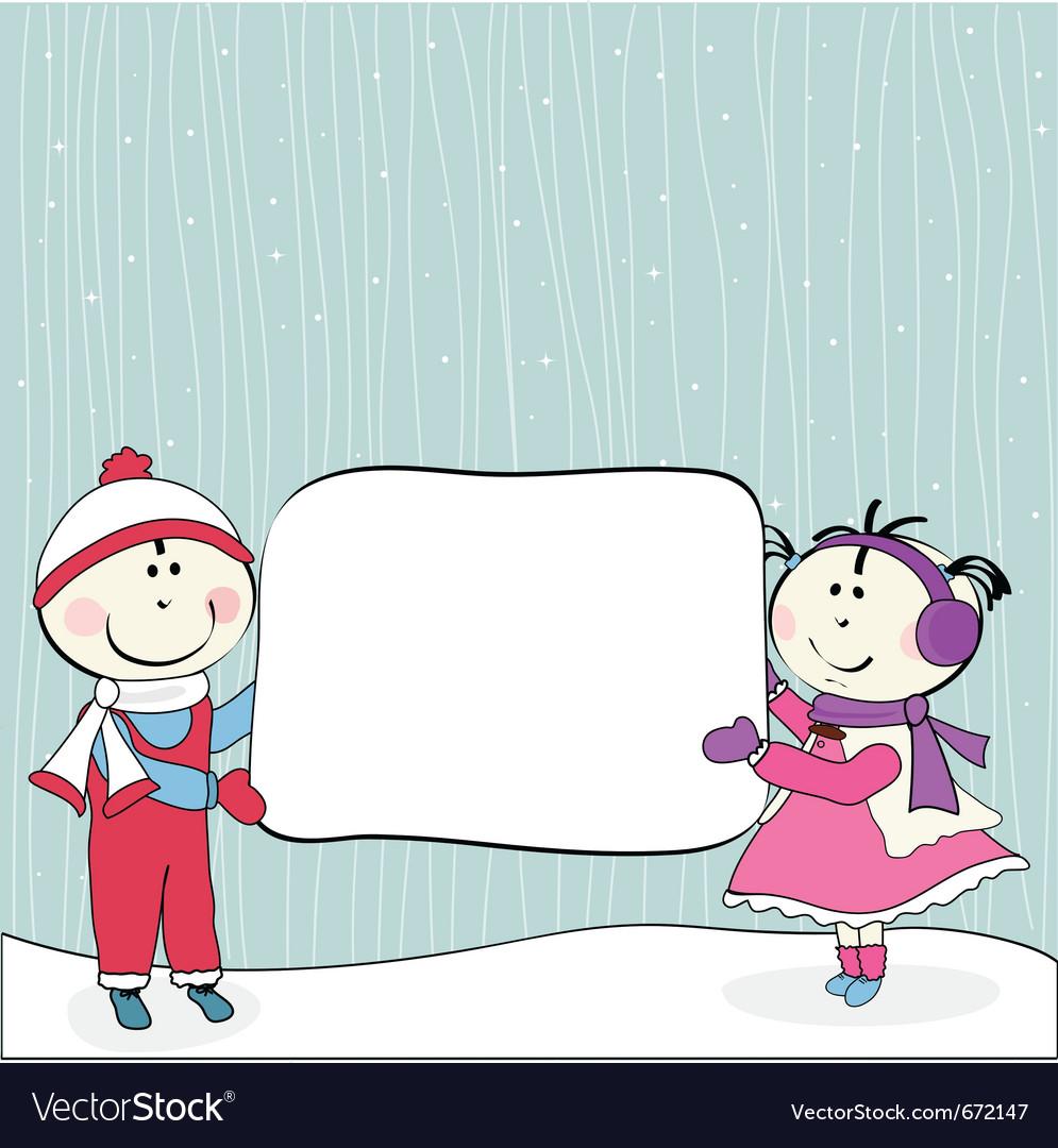 Little girl boy and billboard vector   Price: 1 Credit (USD $1)