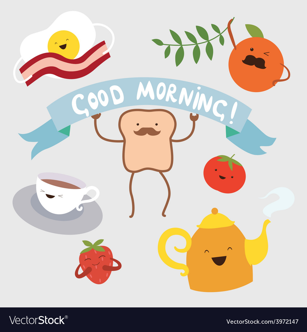 Morning food cartoon characters vector | Price: 1 Credit (USD $1)