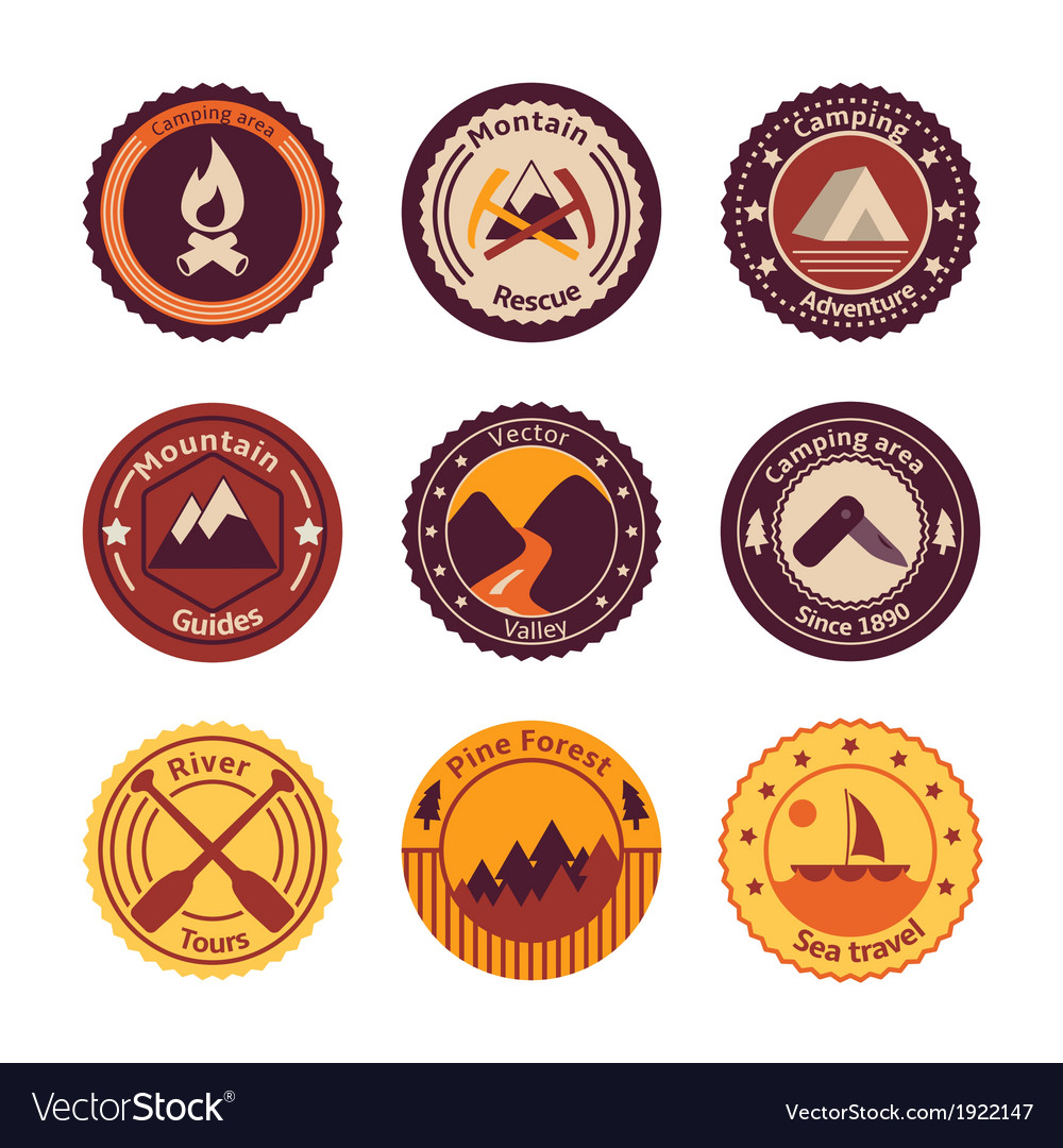 Outdoors tourism camping flat badges vector | Price: 1 Credit (USD $1)