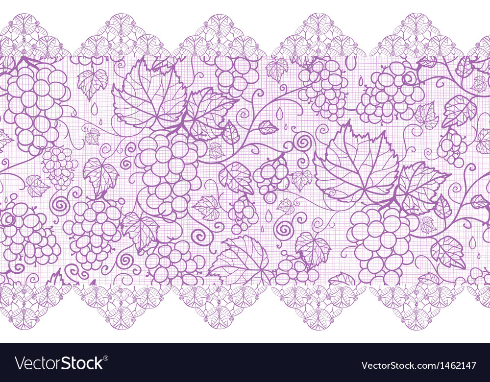 Purple lace grape vines horizontal seamless vector | Price: 1 Credit (USD $1)