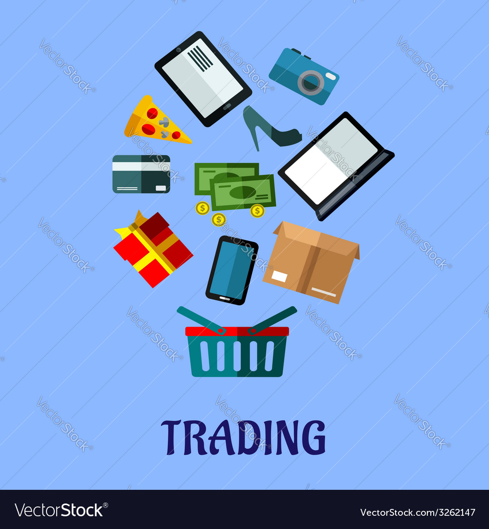 Tradingflat poster design for online shopping vector | Price: 1 Credit (USD $1)