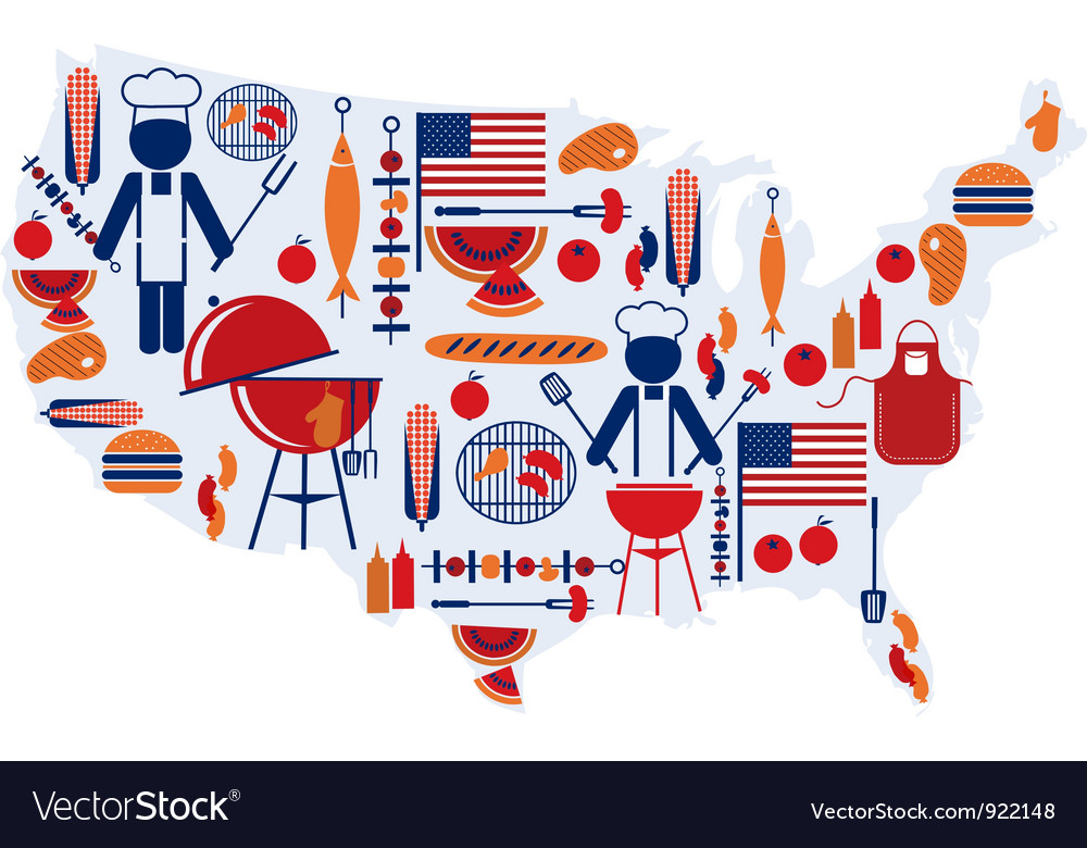 4th of july celebration flag with barbecue icons vector | Price: 1 Credit (USD $1)