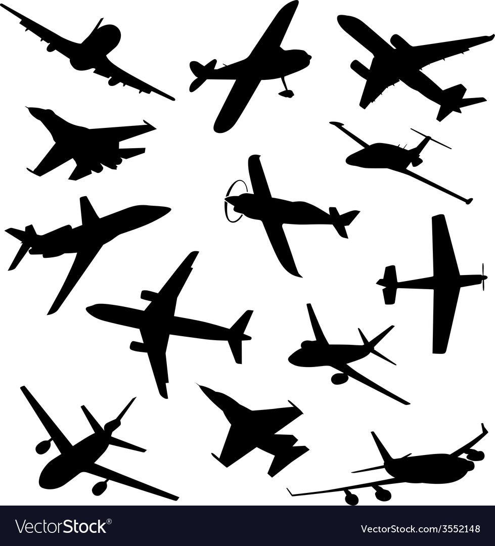 Big collection of different airplane silhouettes vector | Price: 1 Credit (USD $1)