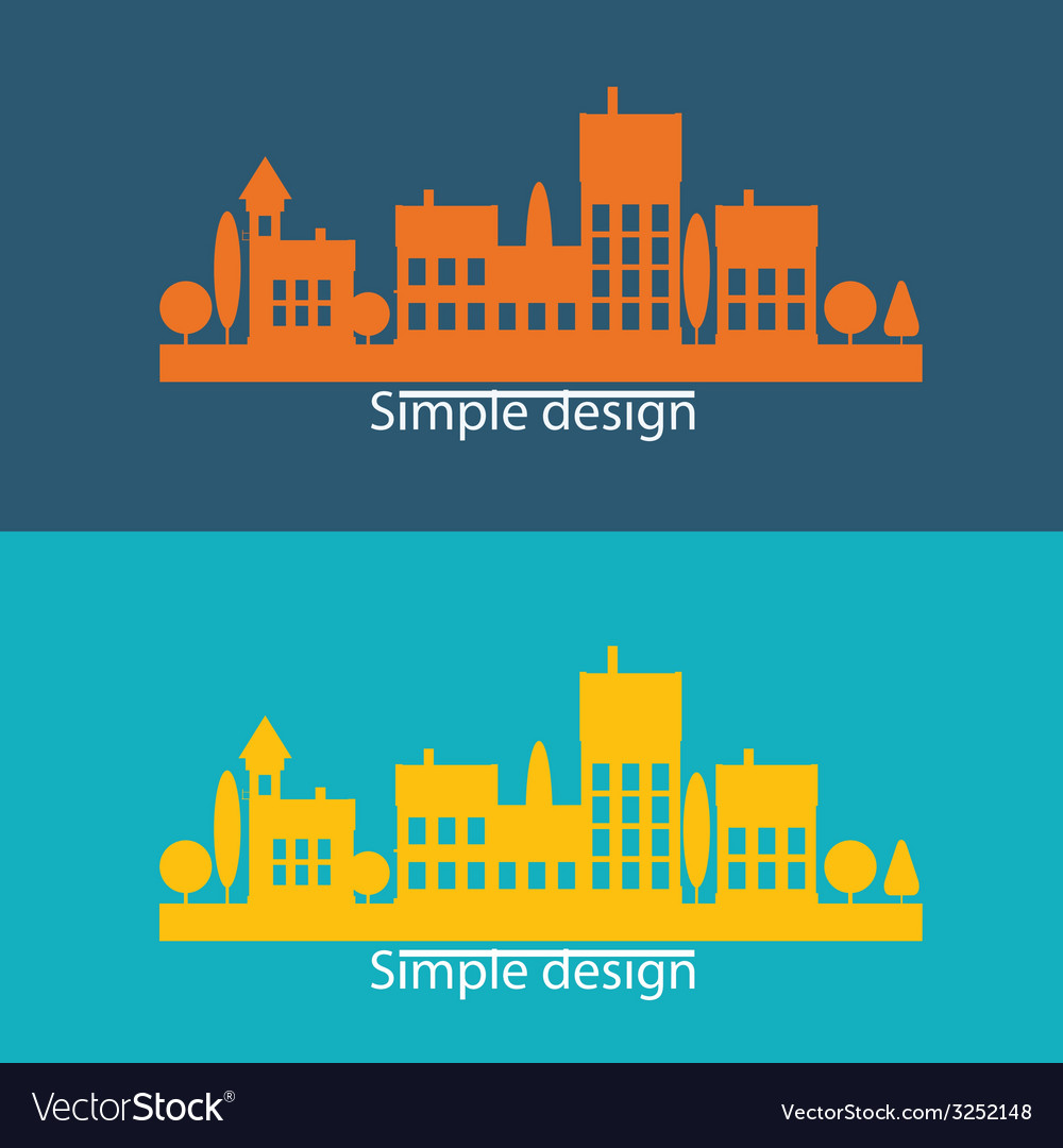 Color flat contours of the urban landscape vector | Price: 1 Credit (USD $1)