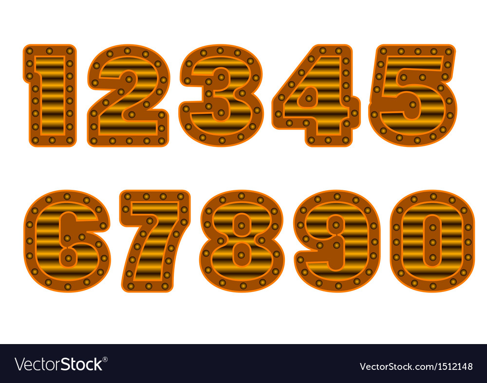 Copper colored numbers vector   Price: 1 Credit (USD $1)