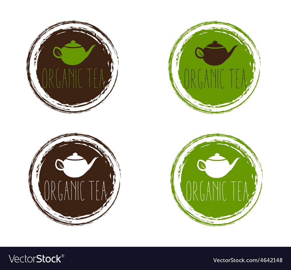 Emblems of organic teapot vector | Price: 1 Credit (USD $1)