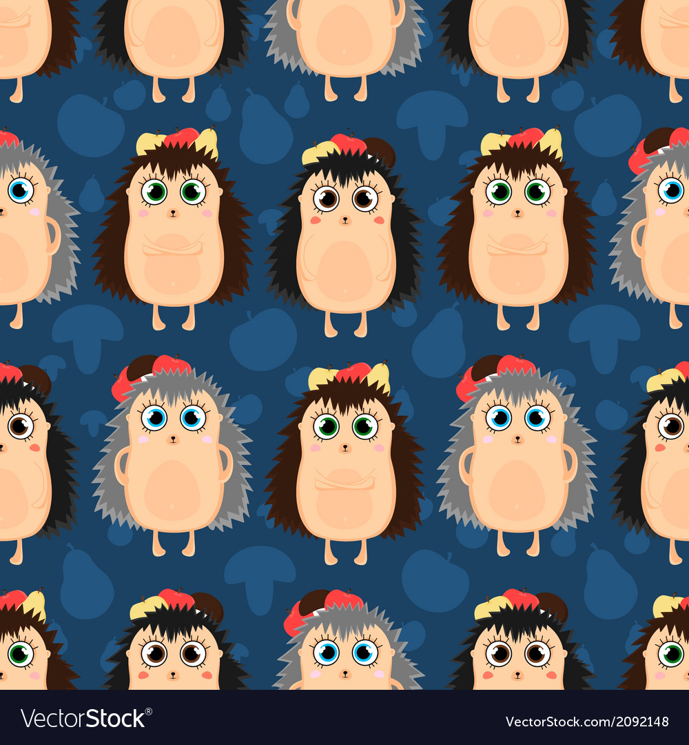 Funny cartoon seamless pattern of hedgehogs vector   Price: 1 Credit (USD $1)