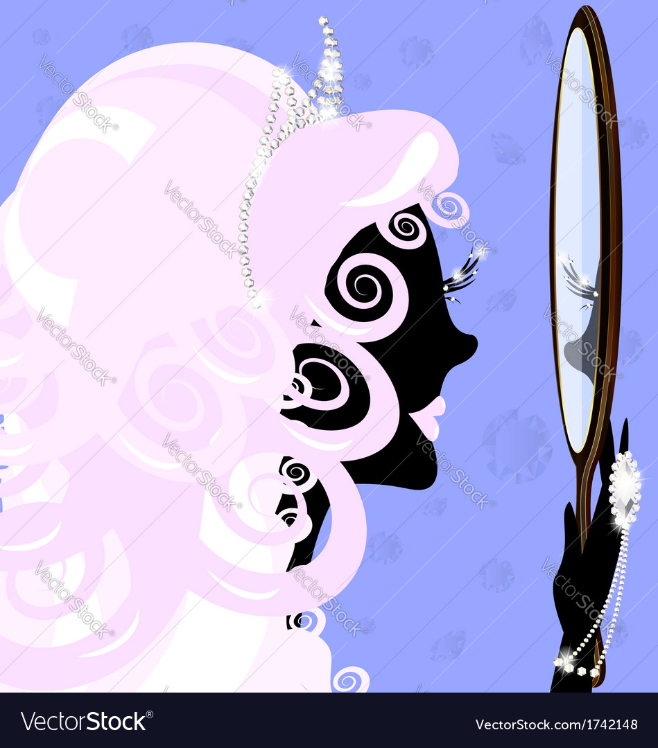 Girl and mirror vector | Price: 1 Credit (USD $1)