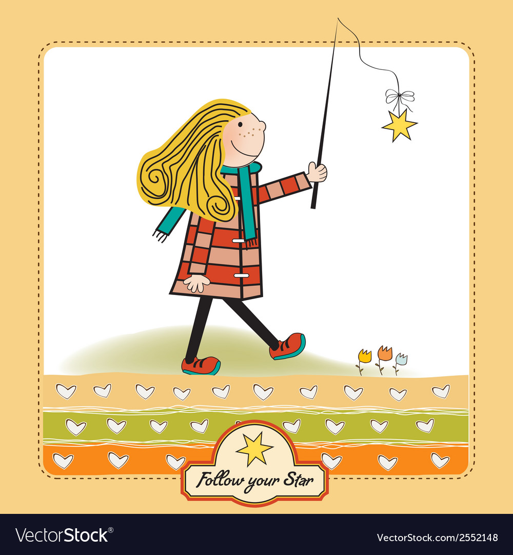 Girl following a star vector | Price: 1 Credit (USD $1)