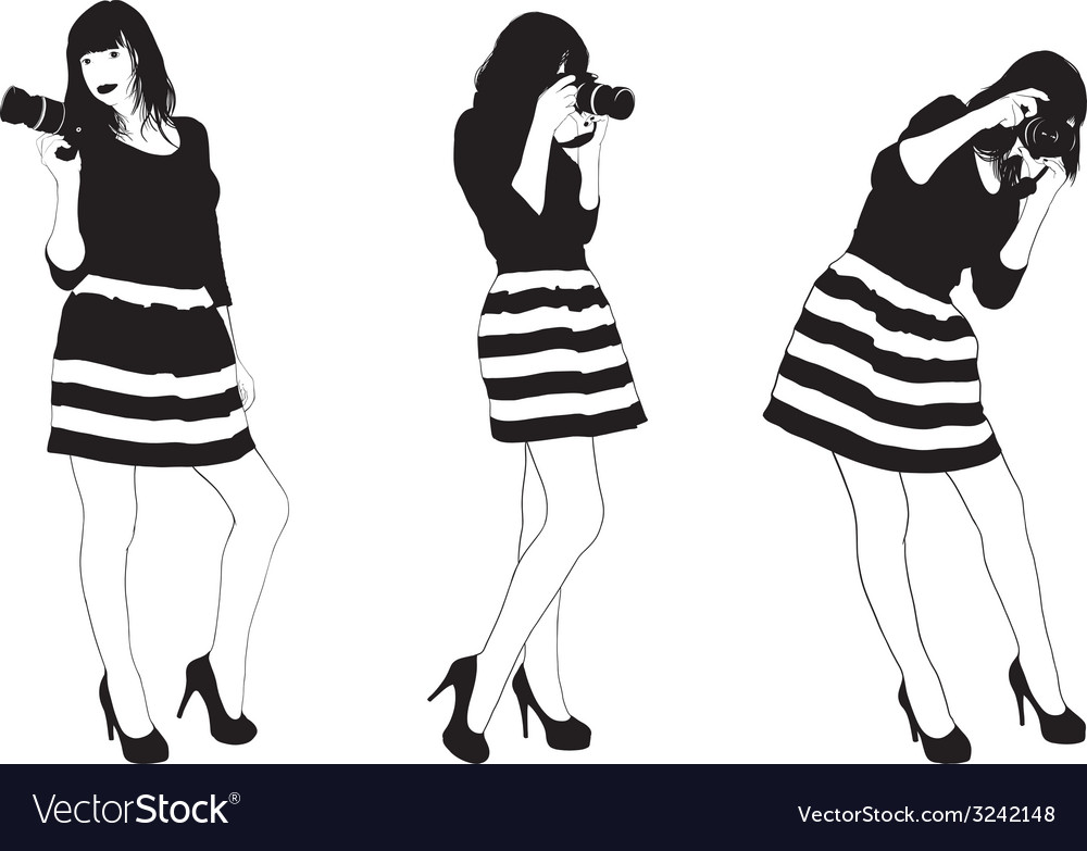 Girl with slr photocamera vector | Price: 1 Credit (USD $1)