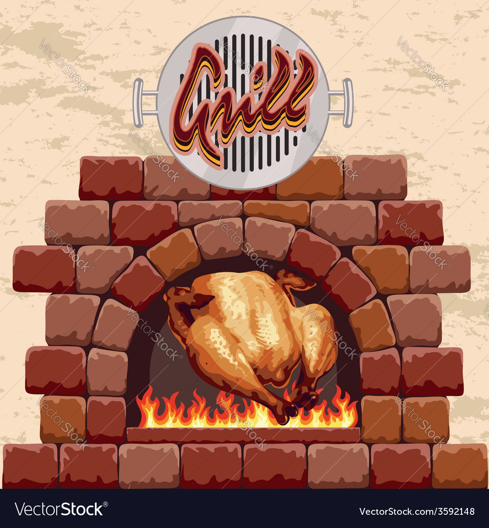Grilled chicken in the fireplace vector   Price: 1 Credit (USD $1)