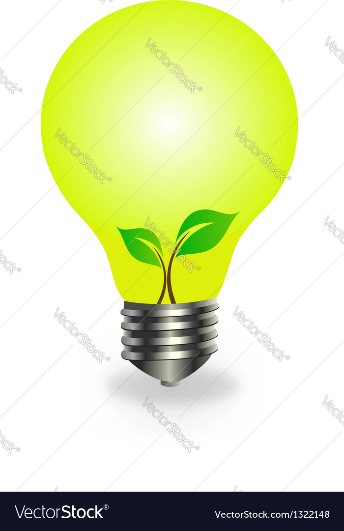 Incandescent lamp with baby seedling vector | Price: 1 Credit (USD $1)