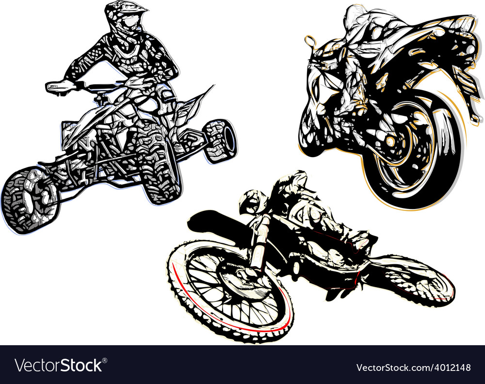 Motorcycle trio vector