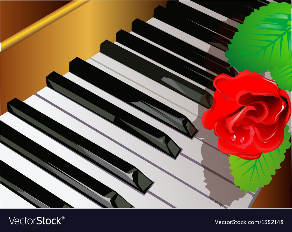 Piano and rose vector | Price: 1 Credit (USD $1)