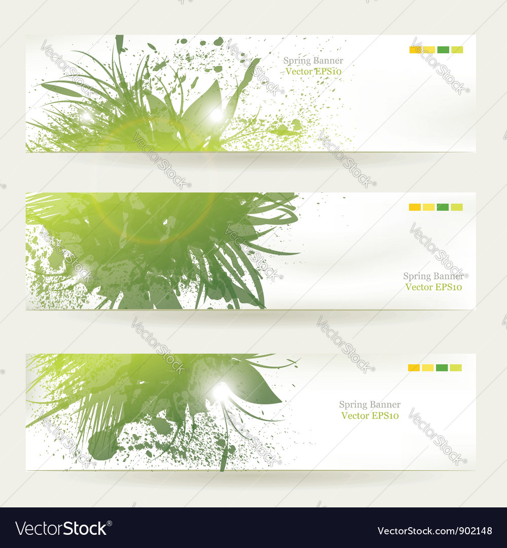 Plant decorated banners vector | Price: 1 Credit (USD $1)