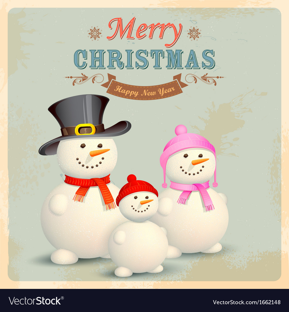 Snowman family in retro christmas background vector