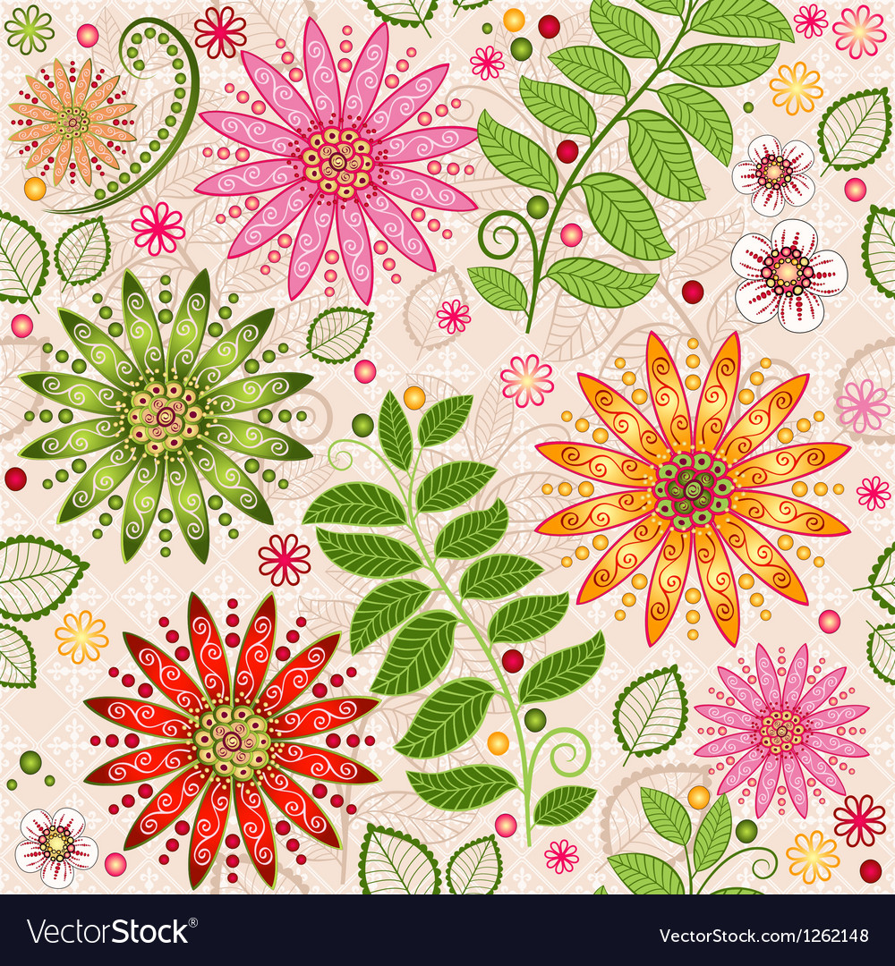 Spring colorful seamless floral pattern vector   Price: 1 Credit (USD $1)