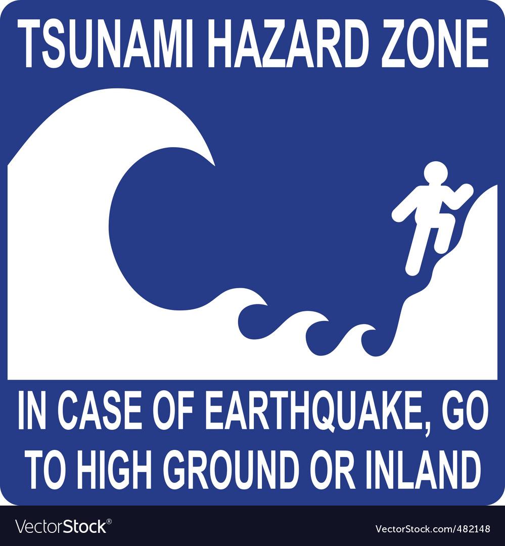 Tsunami hazard zone sign vector | Price: 1 Credit (USD $1)