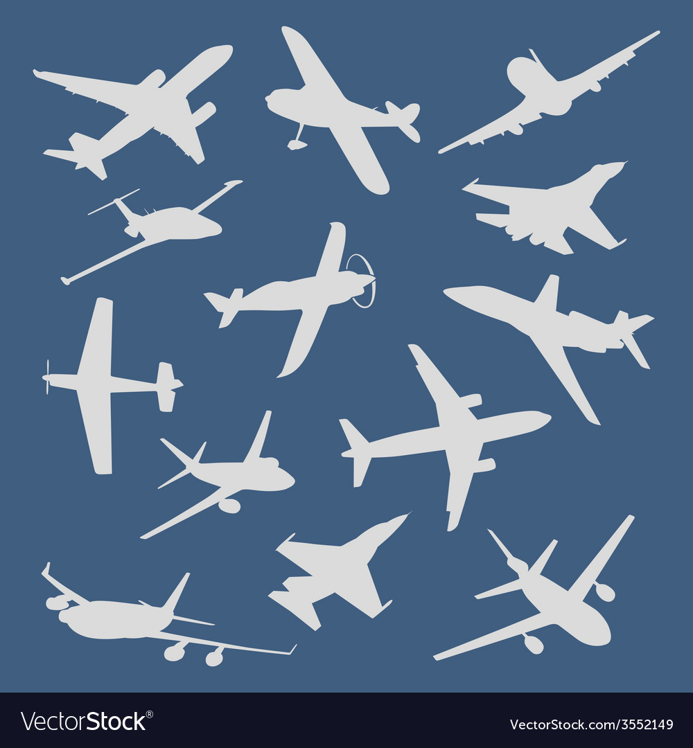 Big collection of different airplane silhouettes vector   Price: 1 Credit (USD $1)