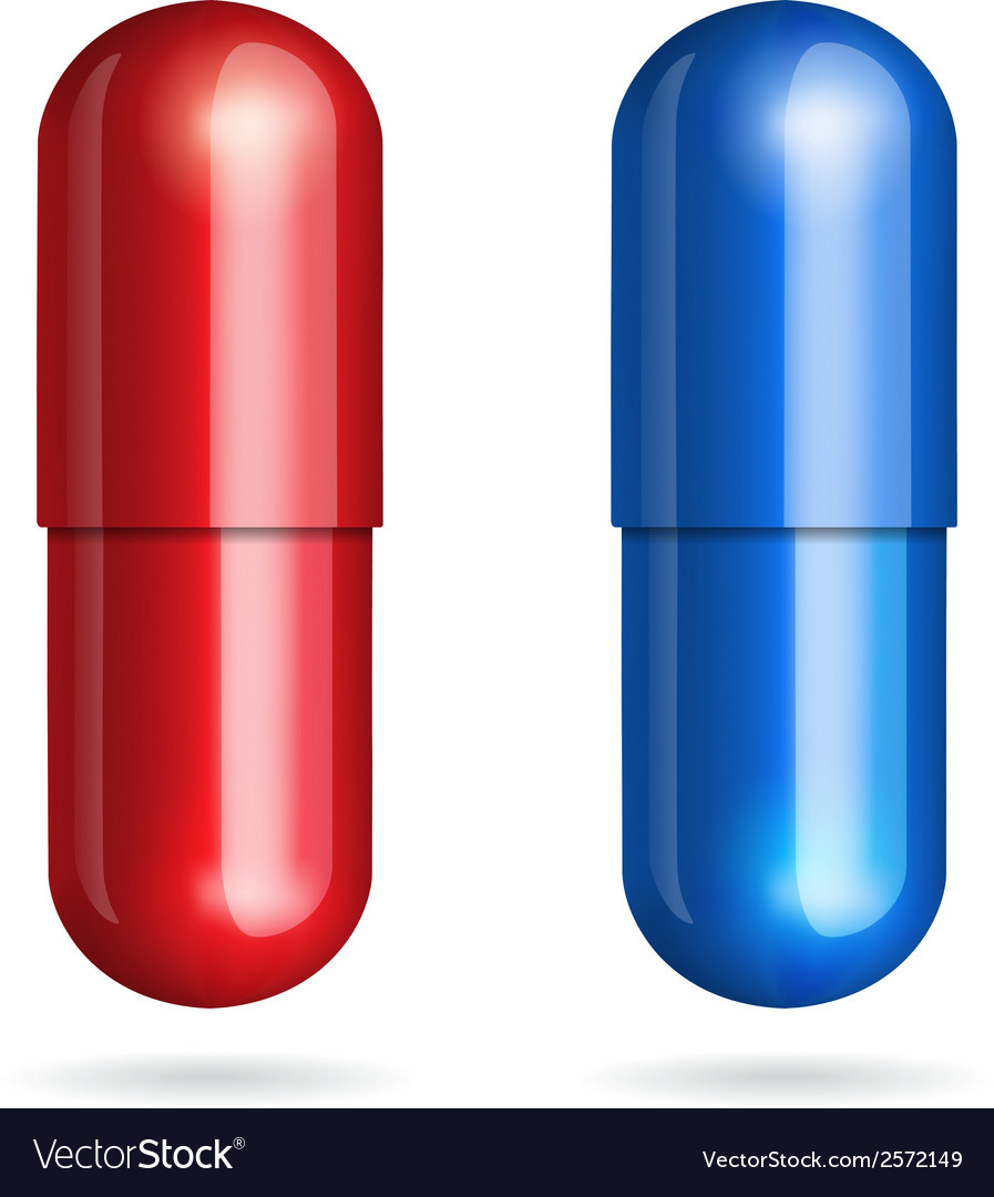 Blue and red pills vector | Price: 1 Credit (USD $1)