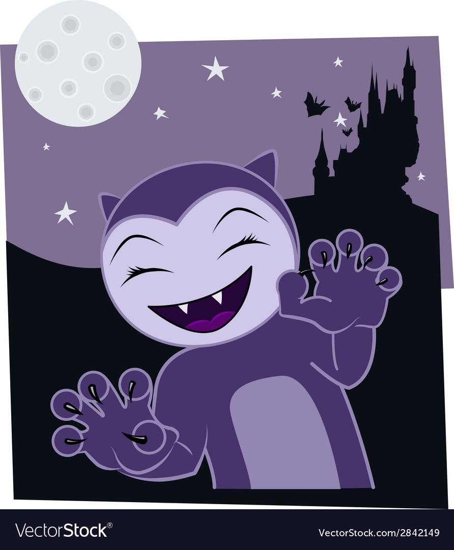 Cartoon halloween cat on a night background vector | Price: 1 Credit (USD $1)