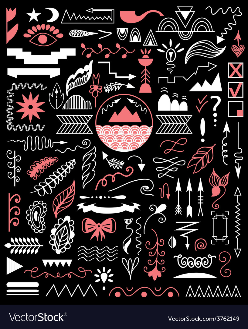 Hand drawn elements on a black background vector | Price: 1 Credit (USD $1)