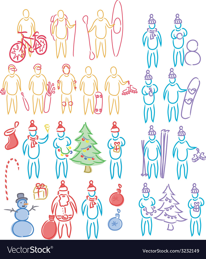 Hand drawn set of doodle shapes of humans vector | Price: 1 Credit (USD $1)