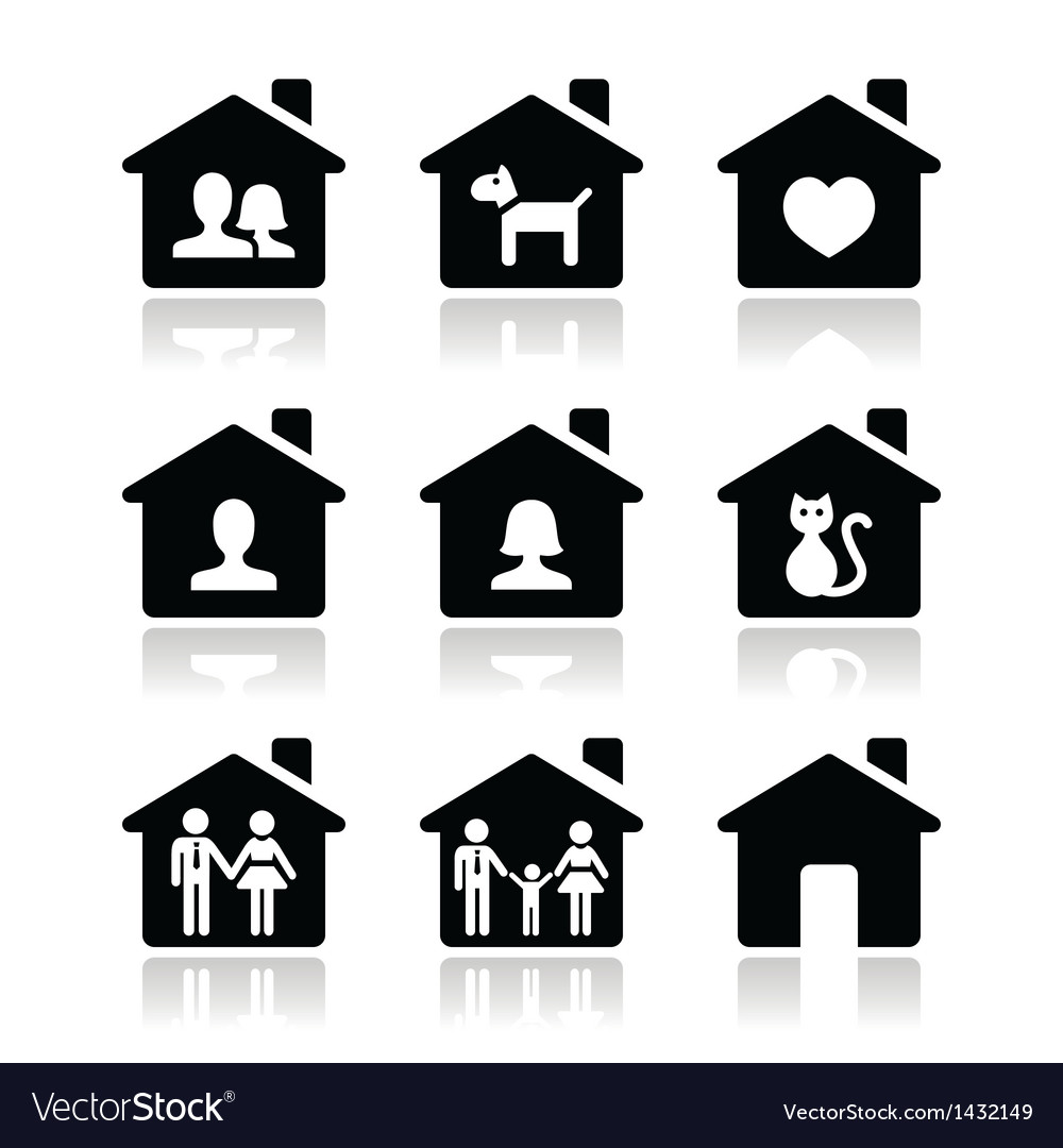 Home family icons set vector | Price: 1 Credit (USD $1)