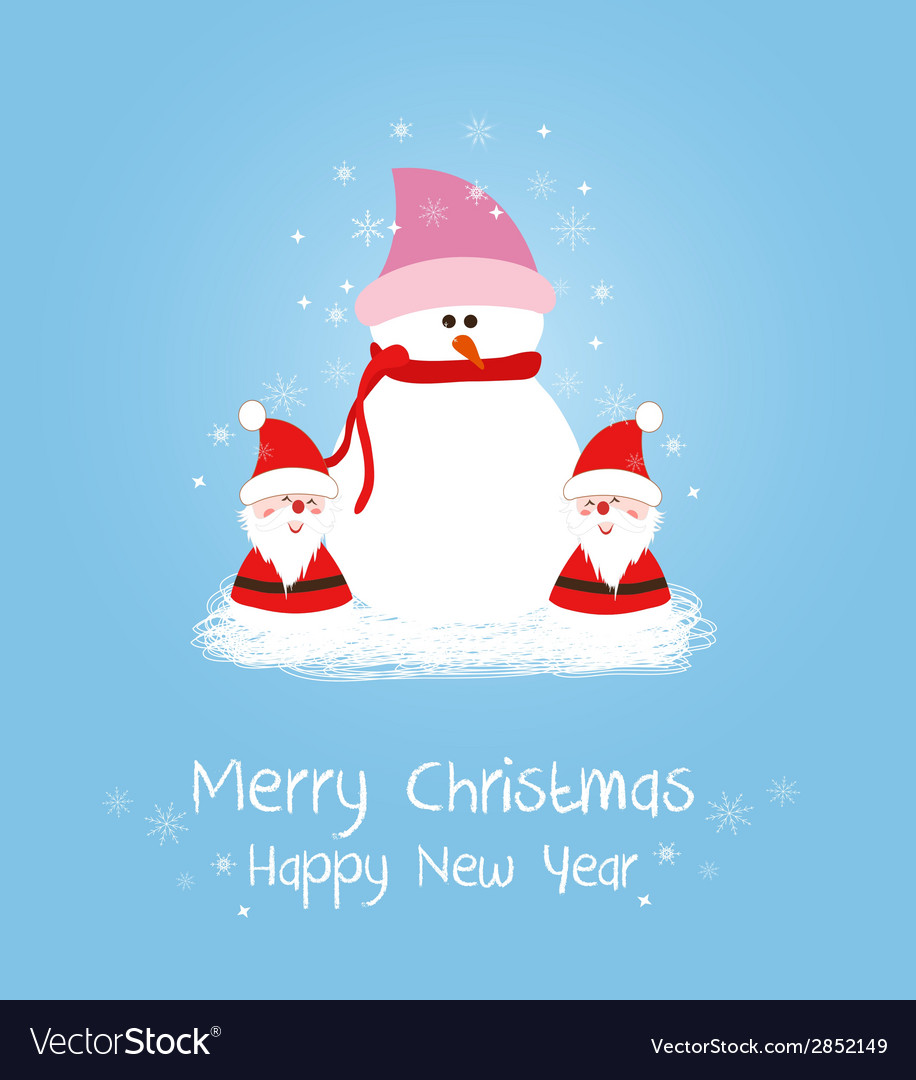 Merry christmas card with santa claus and snowman vector | Price: 1 Credit (USD $1)