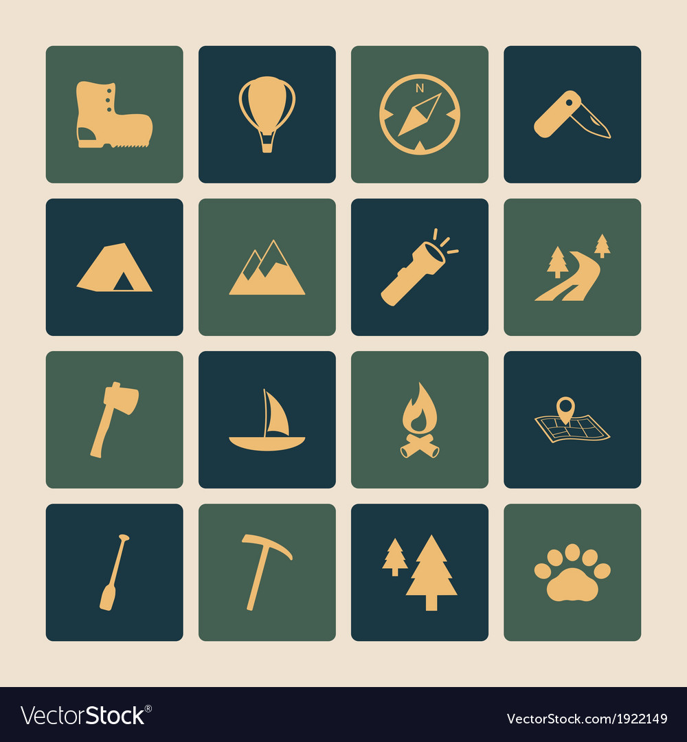 Outdoors tourism camping flat icons set vector | Price: 1 Credit (USD $1)