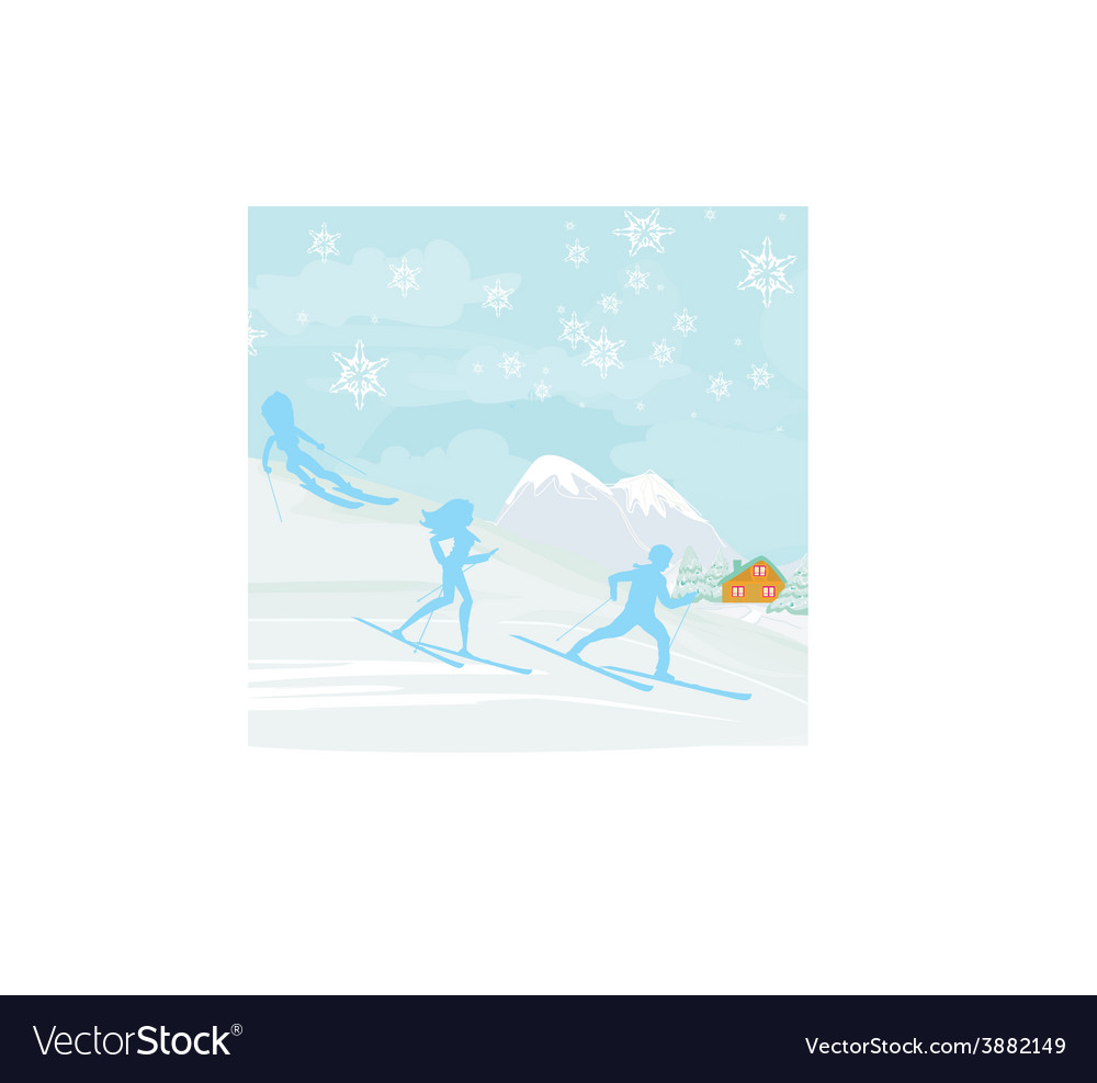People go skiing in the winter day vector | Price: 1 Credit (USD $1)