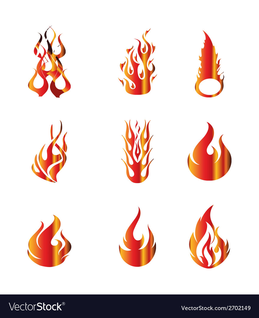 Set of fire icons elements vector | Price: 1 Credit (USD $1)