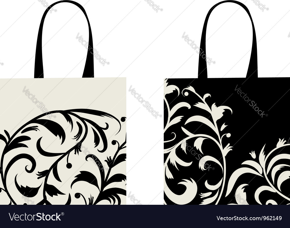 Shopping bag design floral ornament vector | Price: 1 Credit (USD $1)