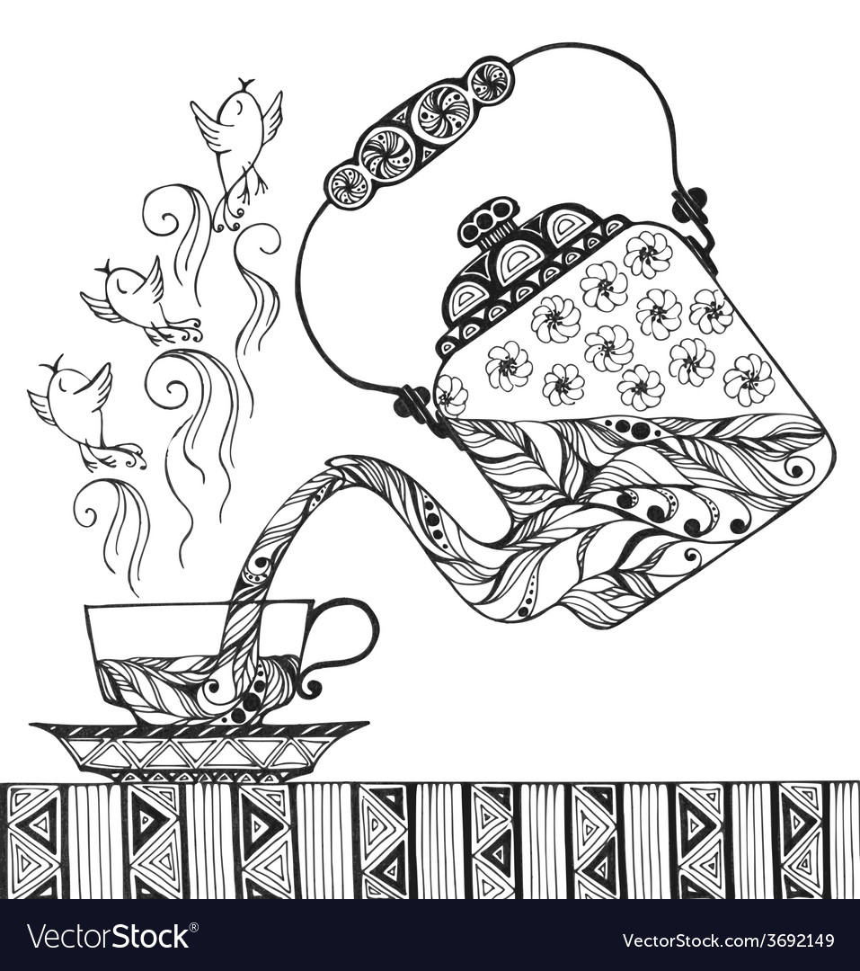 Teapot and cup with steam in form of birds vector | Price: 1 Credit (USD $1)