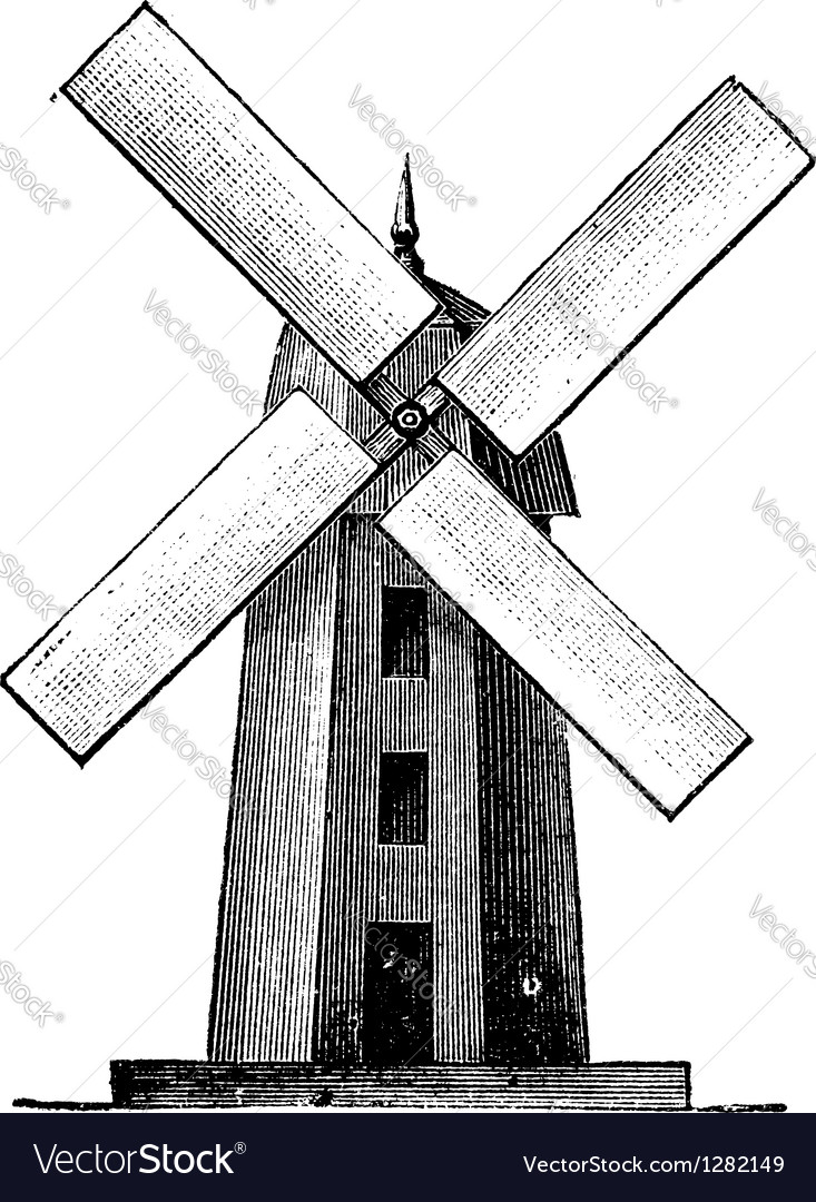 Windmill vintage engraving vector | Price: 1 Credit (USD $1)