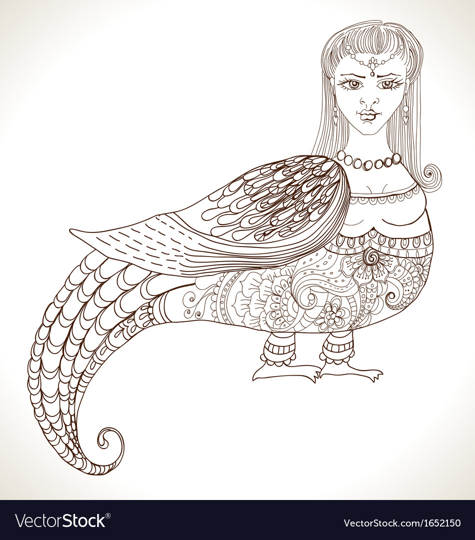 Fairy tale russian fantastic woman bird vector | Price: 1 Credit (USD $1)