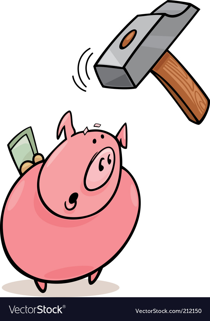 Frightened piggy bank and hammer vector | Price: 1 Credit (USD $1)