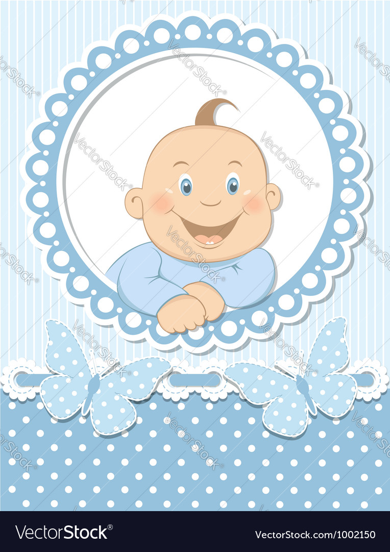 Happy baby boy scrapbook blue frame vector | Price: 3 Credit (USD $3)