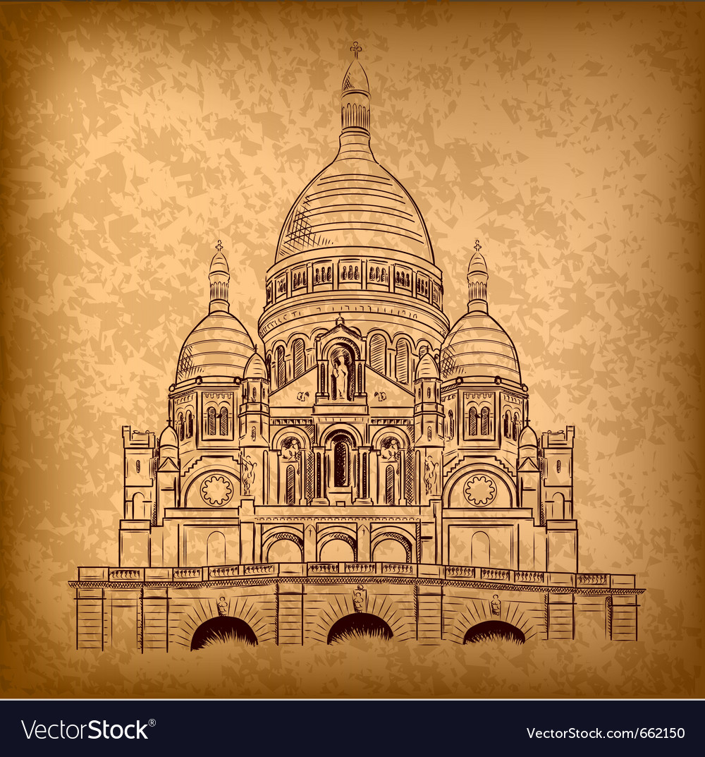 Sacre coeur on the old paper vector | Price: 3 Credit (USD $3)