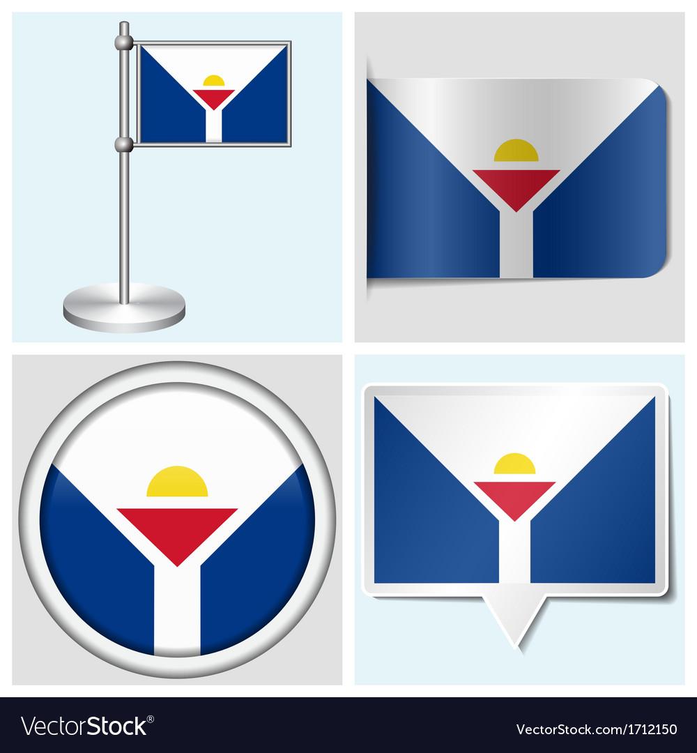 Saint martin flag - sticker button label vector   Price: 1 Credit (USD $1)