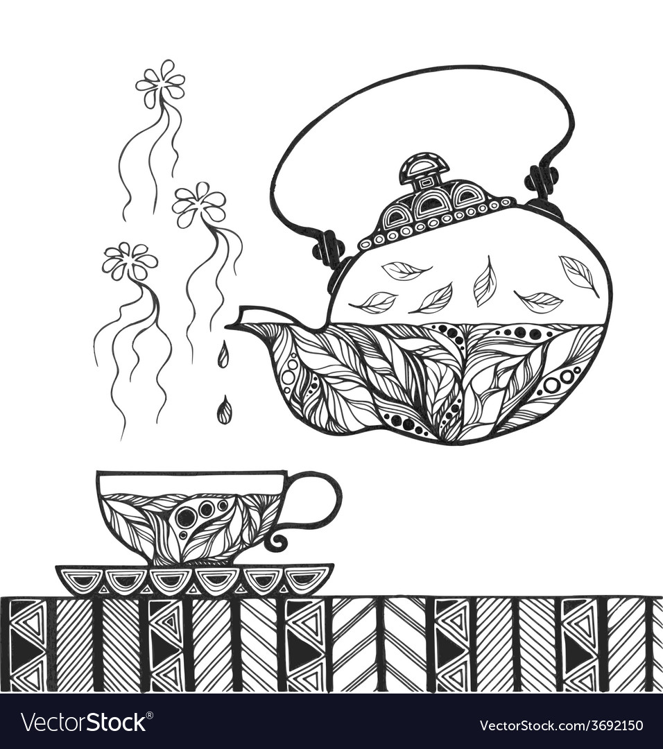 Teapot and cup with steam standing on table vector | Price: 1 Credit (USD $1)