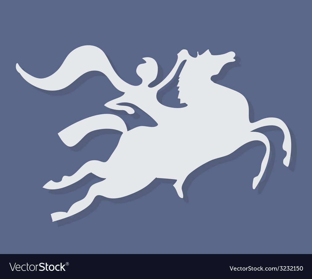 White silhouette of fantasy horse rider on purple vector | Price: 1 Credit (USD $1)