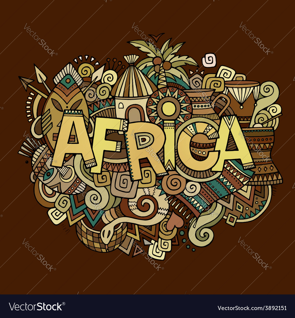 Africa hand lettering and doodles elements vector | Price: 1 Credit (USD $1)