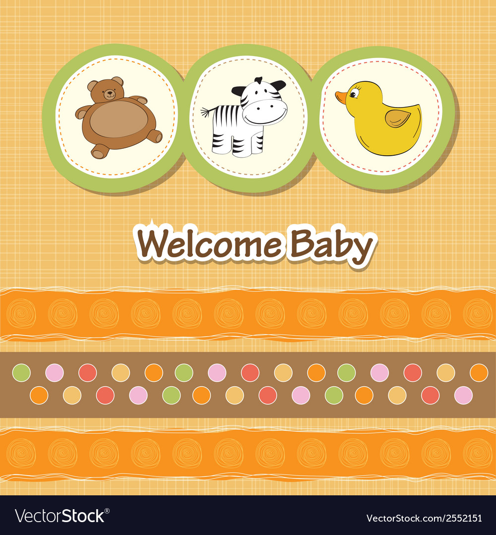 Baby shower card with funny animals vector | Price: 1 Credit (USD $1)