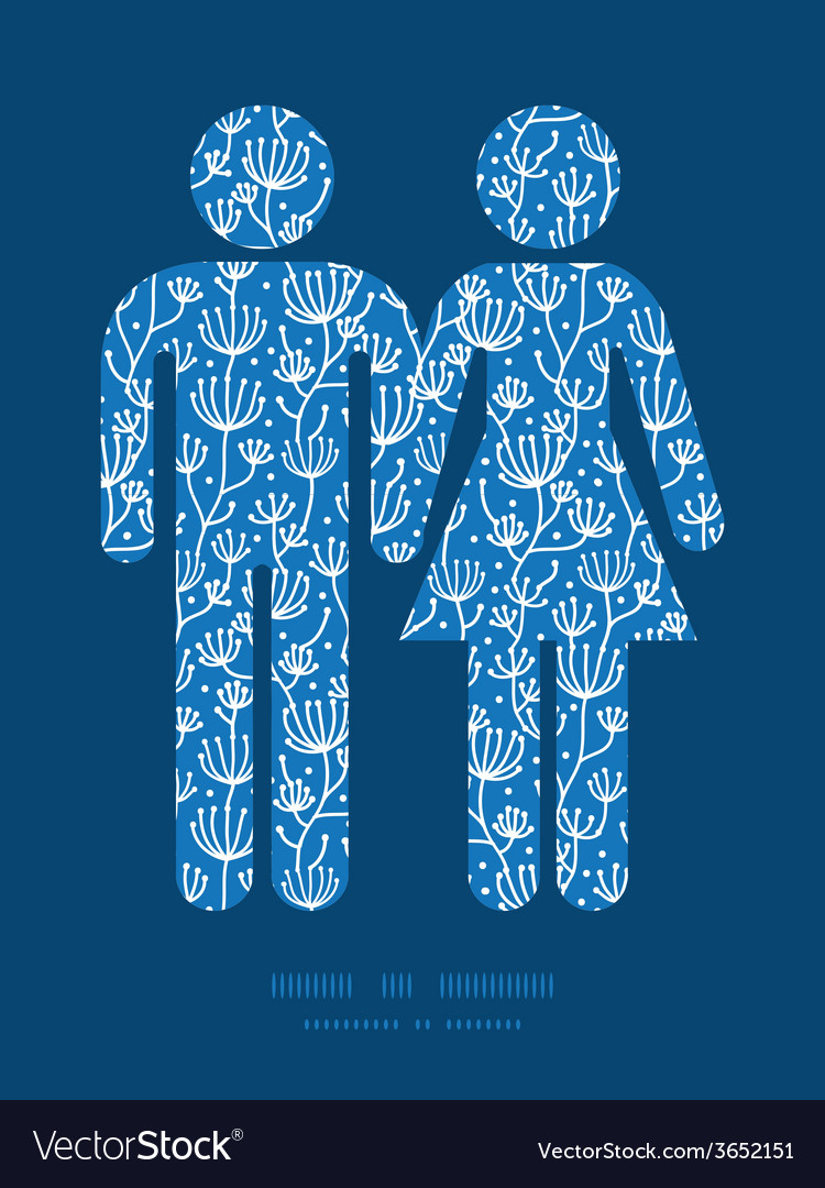 Blue white lineart plants couple in love vector | Price: 1 Credit (USD $1)