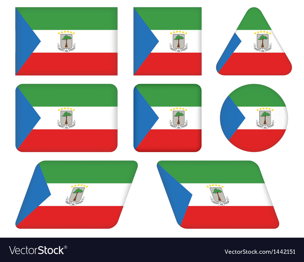 Buttons with flag of equatorial guinea vector | Price: 1 Credit (USD $1)