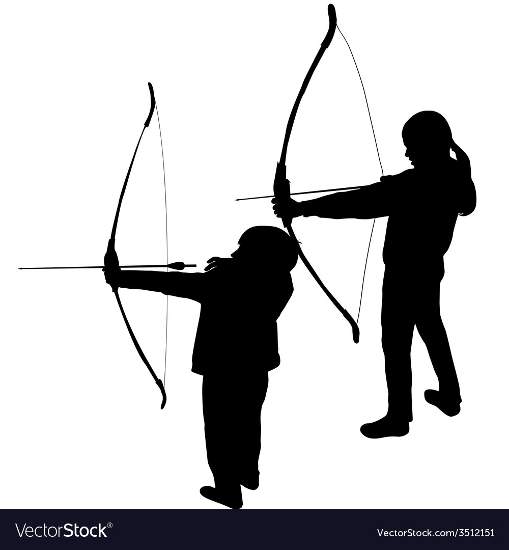Children silhouettes playing archery vector | Price: 1 Credit (USD $1)